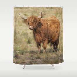 Ginger Scottish Highland cow Shower Curtain