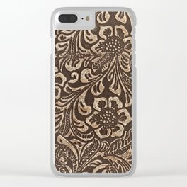 Gold & Brown Flowered Tooled Leather Clear iPhone Case