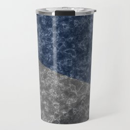 Blue gray abstract pattern marble . Travel Mug
