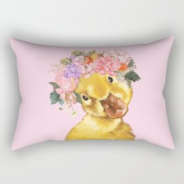 Yellow Duckling with Flowers Crown Rectangular Pillow
