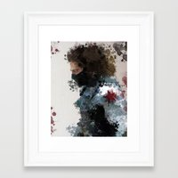 water colour Framed Art Prints featuring Winter Soldier Water Colour by Scofield Designs