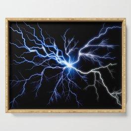 Blue Thunder Colorful Lightning digital impression Serving Tray