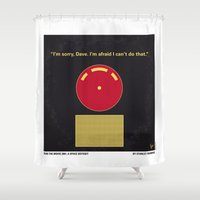 kubrick Shower Curtains featuring No003 My 2001 A space odyssey 2000 minimal movie poster by Chungkong