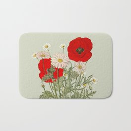 A country garden flower bouquet -poppies and daisies Bath Mat