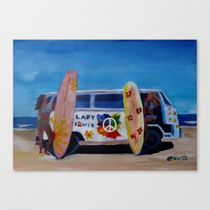 Surf Bus Series - The Lady Flower Power VW Bus Canvas Print