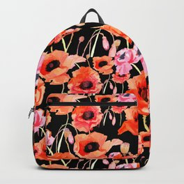 Bold Red and Pink Poppy Flowers on Black Backpack