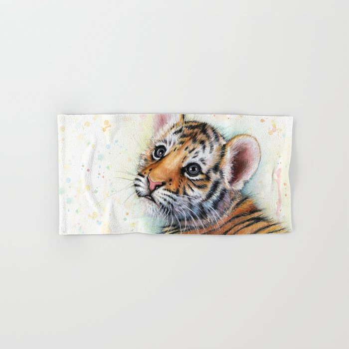 Tiger Cub Watercolor Cute Baby Animals Hand & Bath Towel