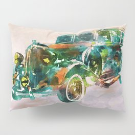 Vintage Car in watercolor Pillow Sham