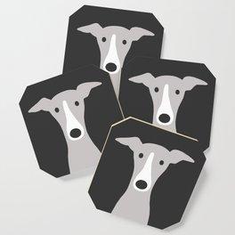 Cute Greyhound, Italian Greyhound or Whippet Cartoon Dog Coaster