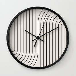 Minimal Line Curvature - Black and White I Wall Clock