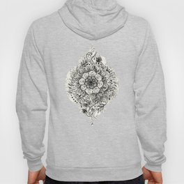 Messy Boho Floral in Charcoal and Cream  Hoody
