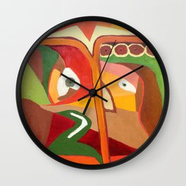Lady with umbrella Wall Clock