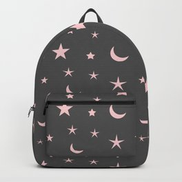 Grey background with pink moon and star pattern Backpack