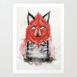 The Red Wolf Fog Art Print