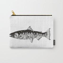 Wild Salmon, Hidden scene, dot-work, pointillism, stippling, Ocean, River, Stream, Fish, Waves Carry-All Pouch