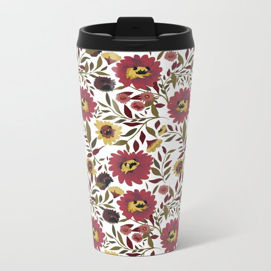 PUGS FLORAL Metal Travel Mug