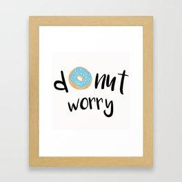 Donut Worry Blue Framed Art Print