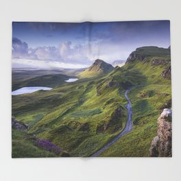 The Road to the Quiraing Throw Blanket