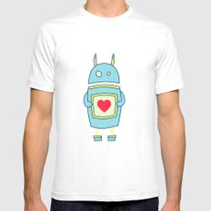 Blue Cartoon Robot With Heart Mens Fitted Tee SMALL White
