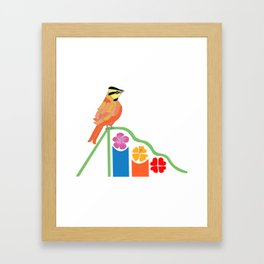 Bird on a slide Framed Art Print