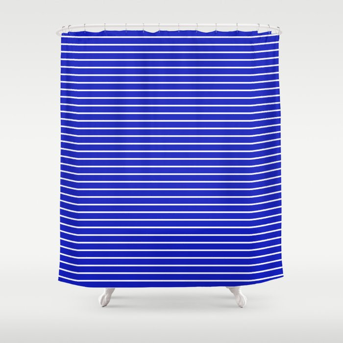 Royal Blue And White Horizontal Stripes Shower Curtain