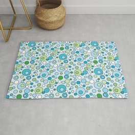 Turquoise Blue and Green Bubbles Spot Pattern Rug