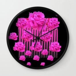 MODERN BLACK ART CERISE PINK ROSE GARDEN Wall Clock