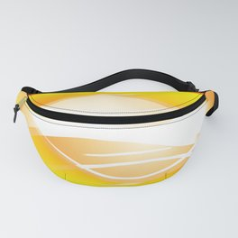 Background of white waves. Geometric pattern of white stripes and waves on a yellow background Fanny Pack