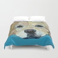 golden retriever Duvet Covers featuring Shiner the Golden Retriever by Barking Dog Creations Studio