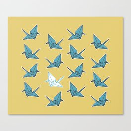 PAPER CRANES BABY BLUE AND YELLOW Canvas Print
