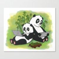 pandas Canvas Prints featuring Pandas by Lisidza's art