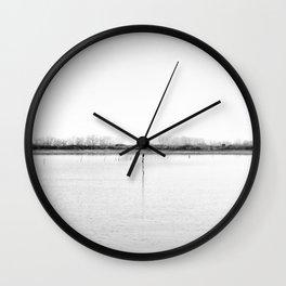 Minimal winter lake scene Wall Clock