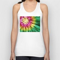 tie dye Tank Tops featuring Abstract Green Tie Dye by Phil Perkins