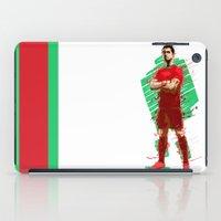 ronaldo iPad Cases featuring Football Legends: Cristiano Ronaldo - Portugal by Akyanyme