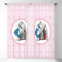 Alice in Wonderland | Alice finds Key and the Door to Wonderland | Pink Damask Pattern | Blackout Curtain