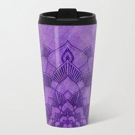 Deep Purple Lotus Mandala Travel Mug