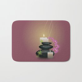 Pebbles with orchid Bath Mat