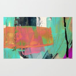 [Still] Hopeful - a bright mixed media abstract piece Rug