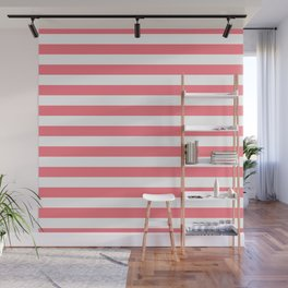 Strawberry Pink Sorbet Ice Cream Beach Hut Stripes Wall Mural