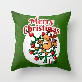 Reindeer in a Christmas tree Throw Pillow
