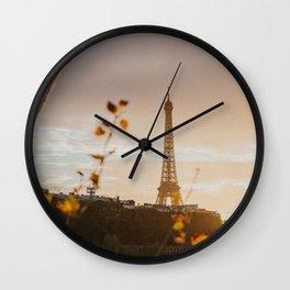 Fall golden hour in Paris Wall Clock