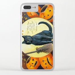 Merry Halloween Black Cat Clear iPhone Case