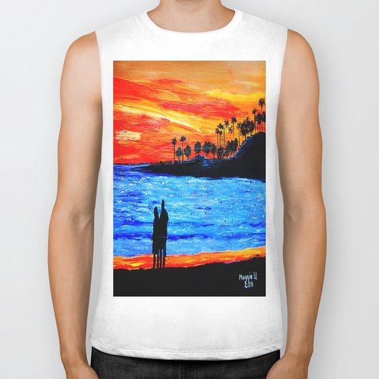Sunset silhouette Biker Tank