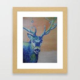 Blue Reindeer by Amit Grubstein  Framed Art Print