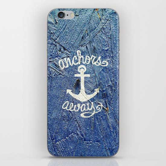 White Nautical Anchors Blue Vintage Wood Texture iPhone & iPod Skin
