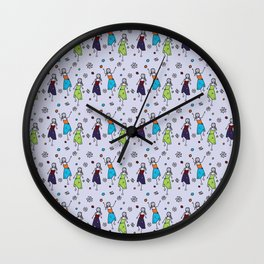 Hippie Chicks Dancing to the Music Wall Clock