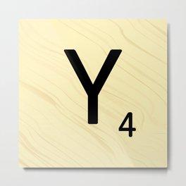 Scrabble Y Initial - Large Scrabble Tile Letter Metal Print