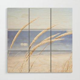 Beach Grass Blue Photography, Coastal Ocean Landscape, Sea Seashore Seascape Shore Wood Wall Art