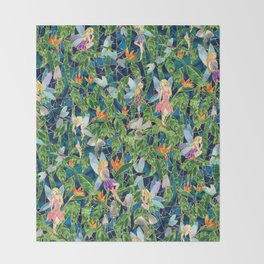 Emerald Fairy Forest Throw Blanket