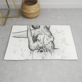 Please Don't Stop b&w Rug